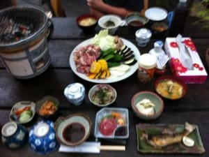 Dinner at a Japanese ryokan onsen hotel