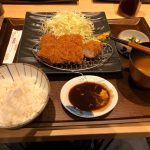 Picture of tonkatsu with rice, cabbage, miso soup